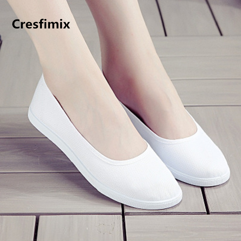 Cresfimix women classic white comfortable flat shoes female spring & summer slip on work shoes lady casual street shoes a2191 cresfimix chaussures pour femmes women cute spring slip on flat shoes with rubber bottom lady casual comfortable street shoes