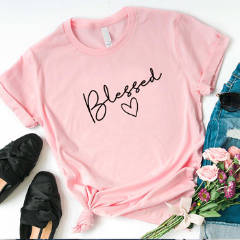 Mirsicas Blessed Letter Printed T Shirt