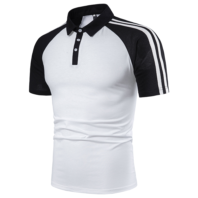 NEGIZBER Fashion New Men's   POLO   Shirt Stitching Striped Sleeves Casual Lapel Short-sleeved   Polo   Shirt Men