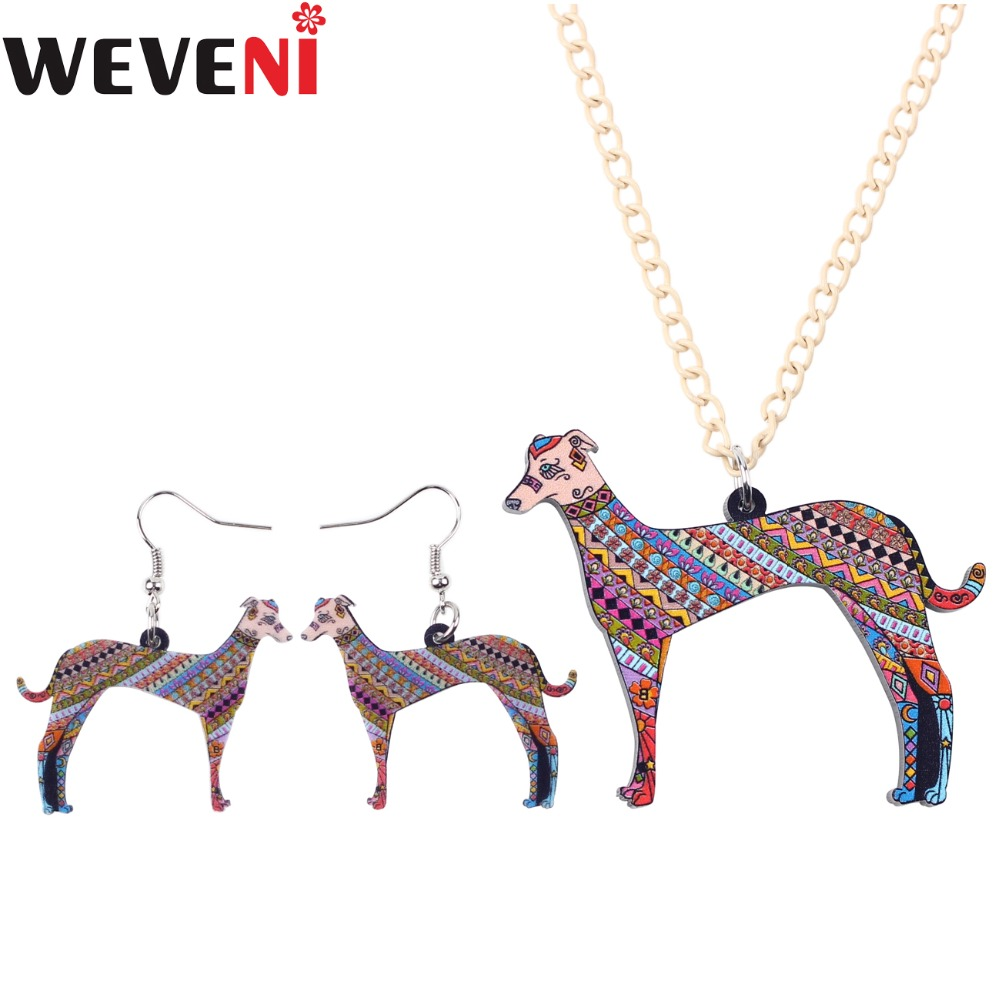 WEVENI Lightweight Acrylic Greyhound Dog Jewelry Sets Necklace Earrings Collar New Fashion Animal Accessories Jewelry For Women