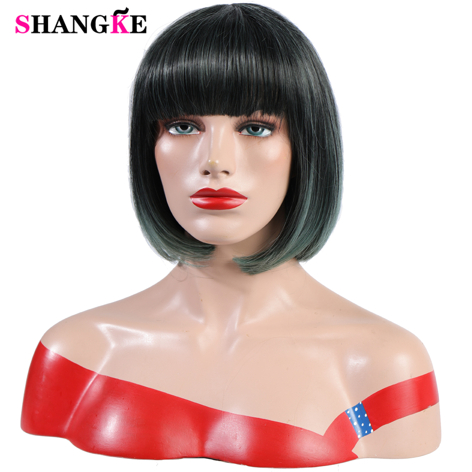 SHANGKE Heat Resistant Straight Ombre Green Synthetic Wigs With Bangs For Women Hair Bob Wig bobo Hairstyle Cosplay wigs in Synthetic None Lace Wigs from Hair Extensions Wigs