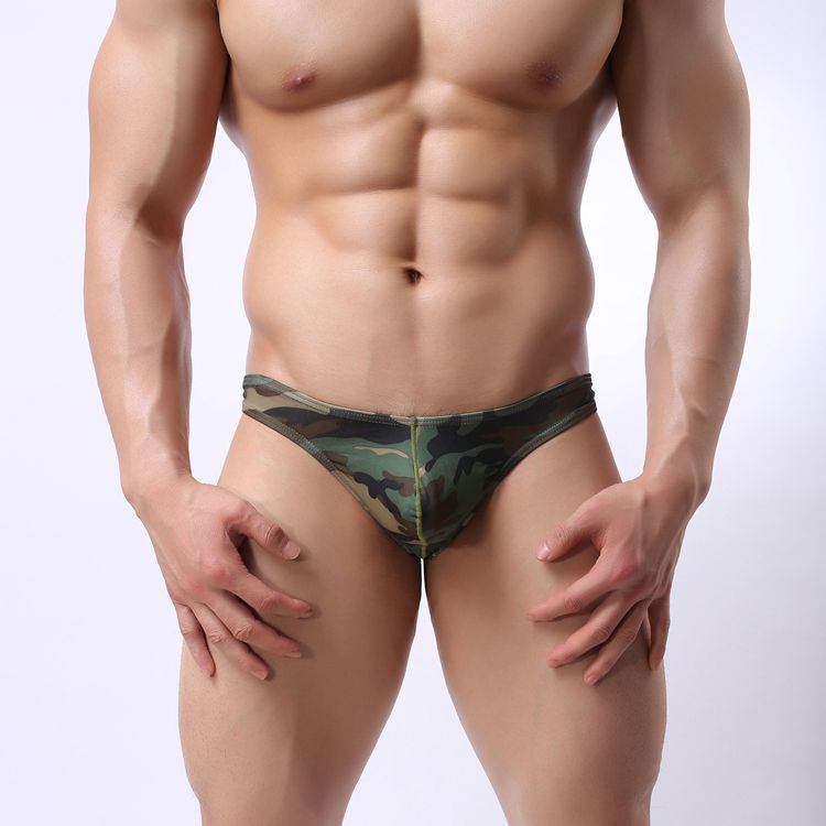 2017 Fashion mens sexy pouch underwear bikini Sexy sheer mens thongs Sexy camouflage gay underwear Size M L XL