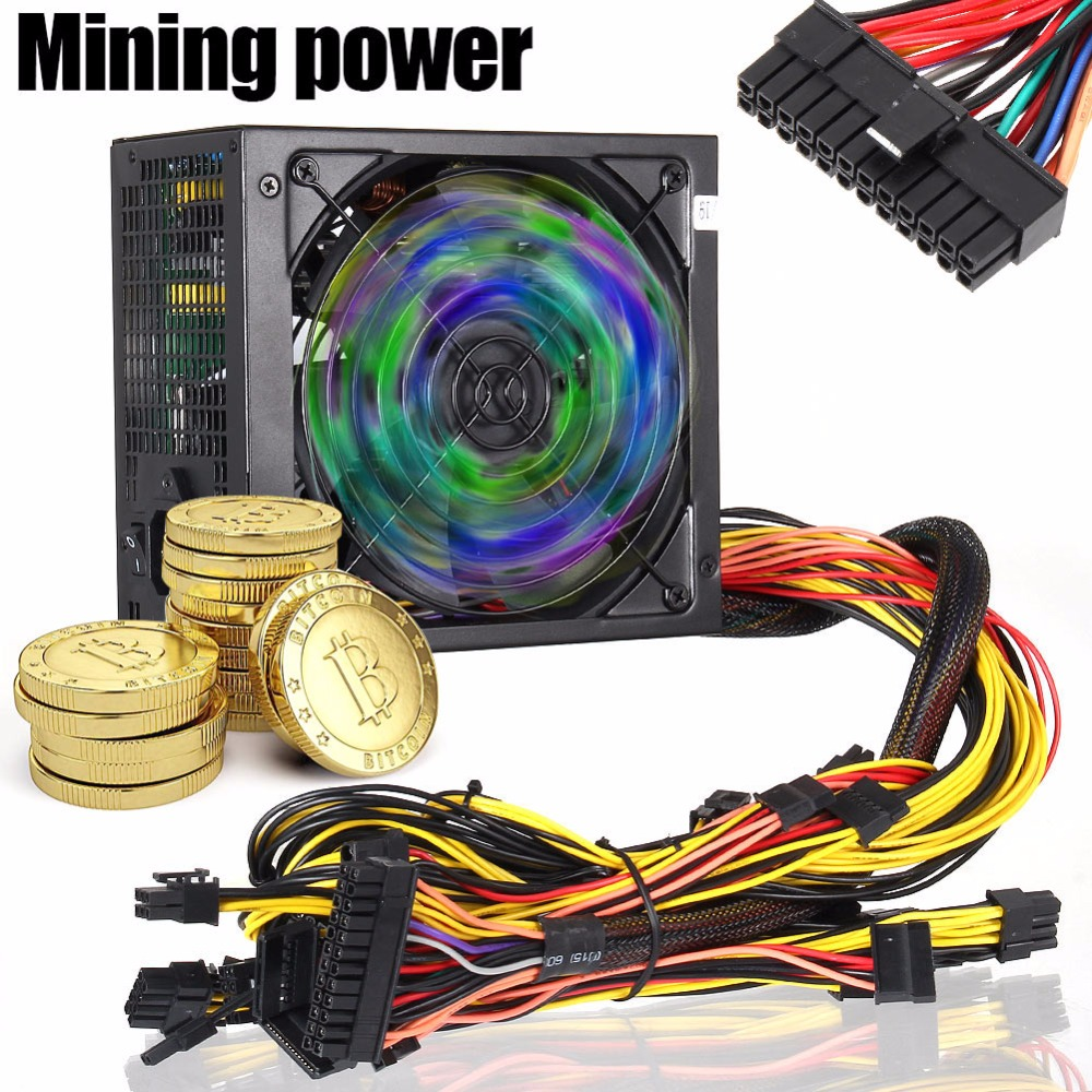 Nouvelle alimentation 1600 W 170-240 V ATX Gold Mining SATA IDE 6 GPU pour ETH Ethereum EM88