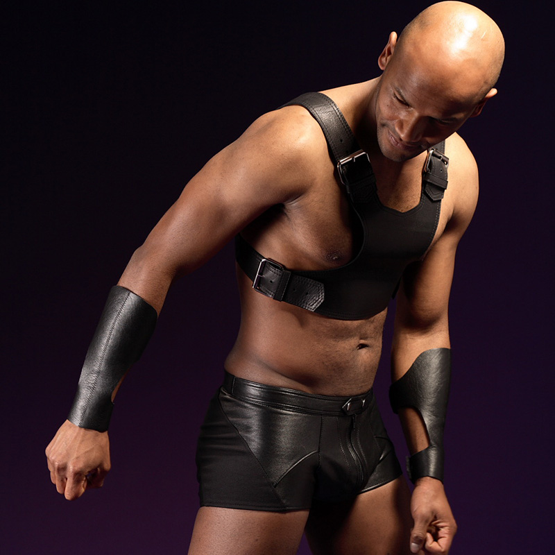 Men Erotic Sexy Uniform Men's Faux Leather Top and Underpant Fetish Body Wear Shorts Gay Male Nightclub Costume PU Leather Linge