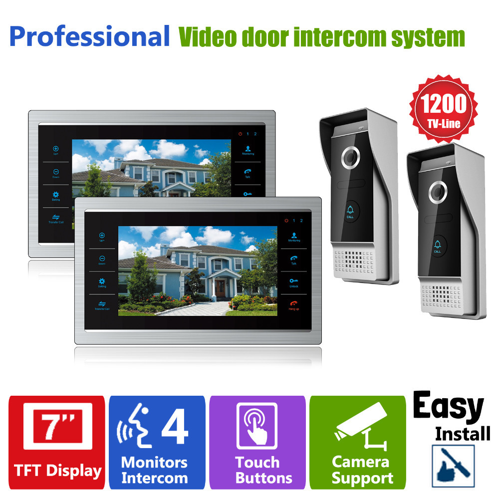 Homefong 7 TFT LCD Video Door Bell Phone Hands free Intercom Doorphone Monitor 2V2 Outdoor Night Infrared Camera with Doorbell lcd wired video security doorphone camera tft screen video interphone infrared night vision doorbell intercom