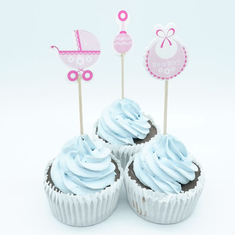 18pcs Baby Shower Pink Cupcake Toppers pick Baby Shower Favors Party Supplies Decorations Its a Boy Girl Blue pink Game