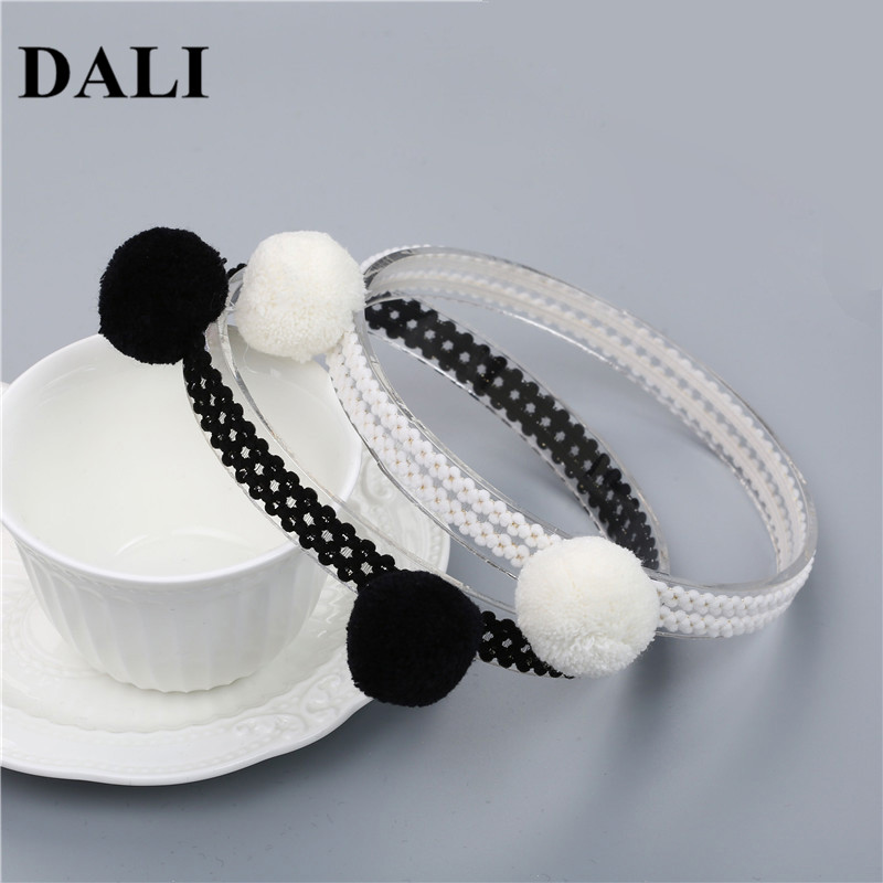 Lovely Baby Headbands With Two Balls Little Girls White Black Hair Bands Elastic Kids Toddler Children Cute Forehead Headbands