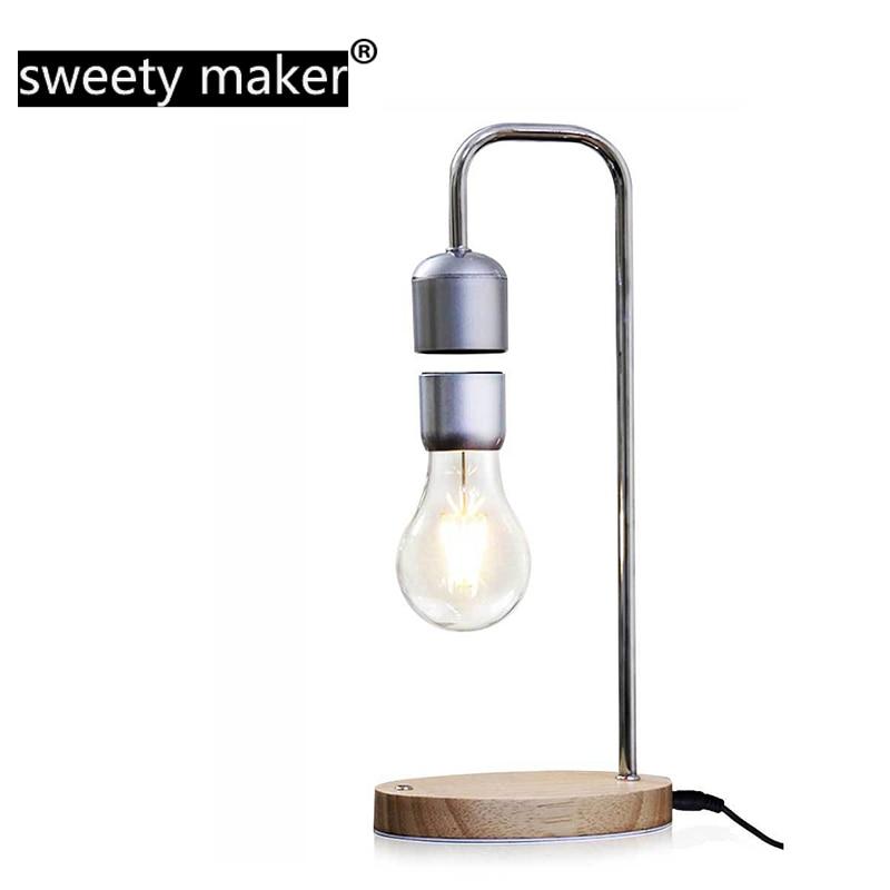 LED magnétique lévitation ampoule vol stationnaire sans fil lampe de Table cadeau créatif magie haute technologie noir Science geek tactile gradation exposition
