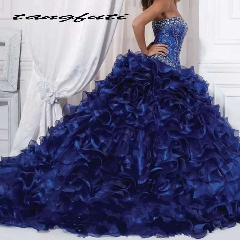 Fascinating Ball Gowns Quinceanera Dresses Dark Blue Organza Beading Prom Dress Sweetheart Formal Party Gown vestidos de 15 anos