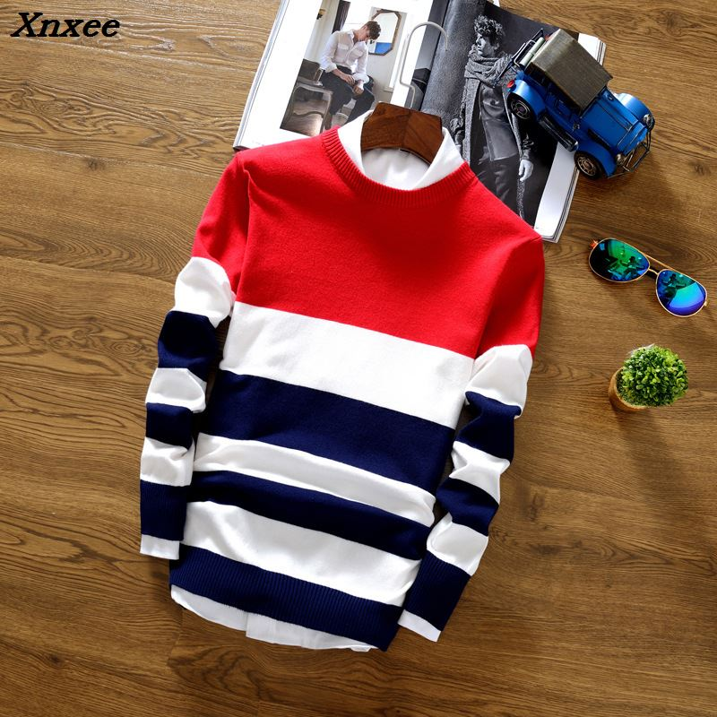 Xnxee2018 Brand Social Cotton Thin Men's Pullover Sweaters Casual Crocheted Striped Knitted Sweater Men Masculino Jersey Clothes