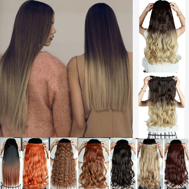 25 ombre clip in hair extensions brown blonde two tone dip dye Light Blonde Hair Extensions Blonde Clip in Hair Extensions