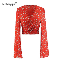 Lanbaiyijia Newest women cross V neck floral print Chiffon shirts back bow lace up long sleeve blouse red short women shirts