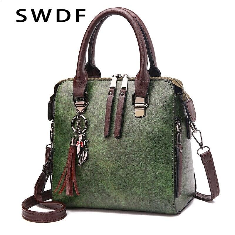 SWDF Novas Senhoras De Couro Bolsas Mulheres Messenger Bags Totes Designer de Borla Bolsa de Ombro Crossbody Boston Sacos de Mão Venda Quente