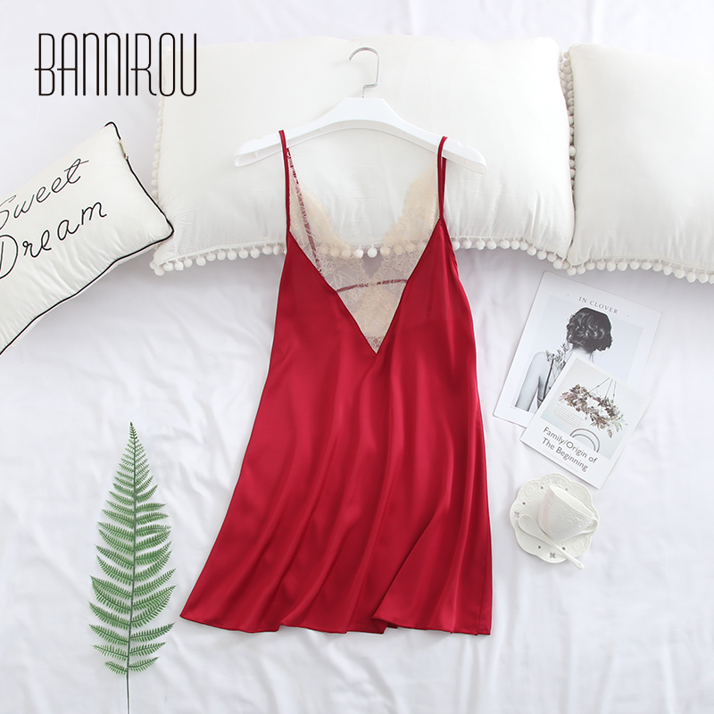 Woman Lingerie Slip Sexy Silk Satin Lace Sleeveless Backless Sleep Wear Female   Sleepshirts     Nightgowns   For Woman Summer BANNIROU