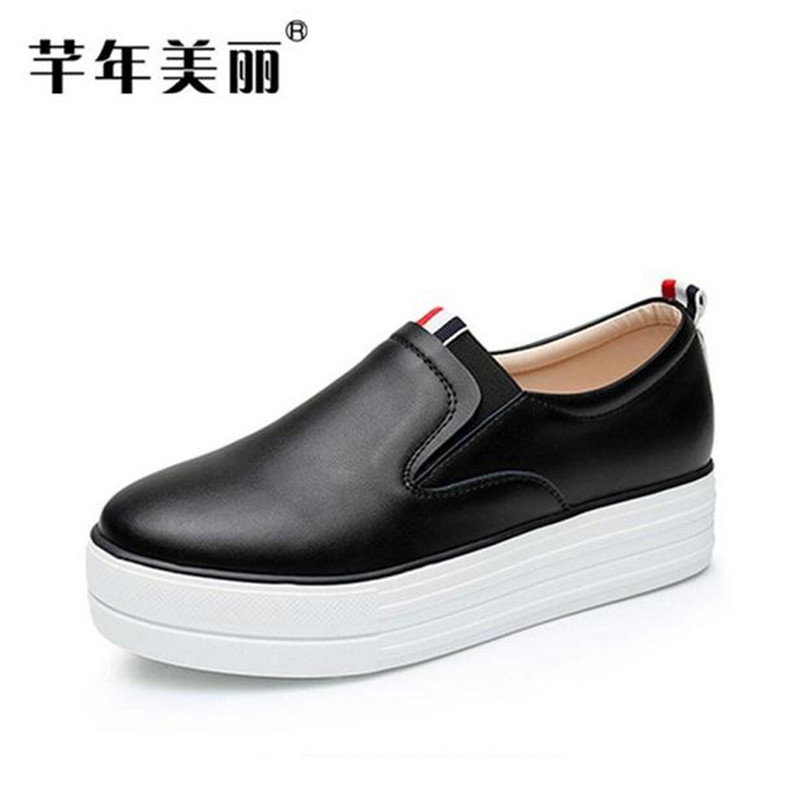 Large size 40-73 Flats Thick bottom leisure Loafers shoes Women Shoes White, black  Platform shoes Female obuv Schuhe skor 2017 new spring female flat heels martin shoes bullock shoes female thick bottom loafers large size women shoes obuv ayakkab