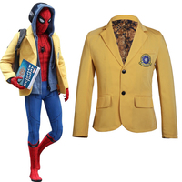Spider Man Homecoming Cosplay Peter Parker Yellow Coat Spiderman Halloween Cosplay Costume Spider Man Carnival Blazer Jacket