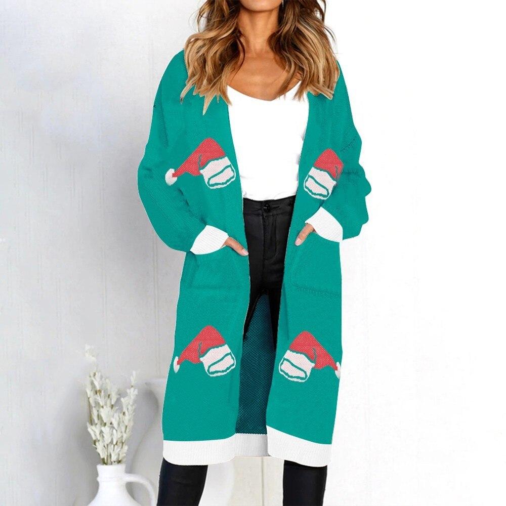 2018 Herbst Frauen Gestrickte Pullover Mantel Weihnachten Hut Druck Langarm Strickjacke Öffnen Stich Damen Beiläufige Lange Mantel