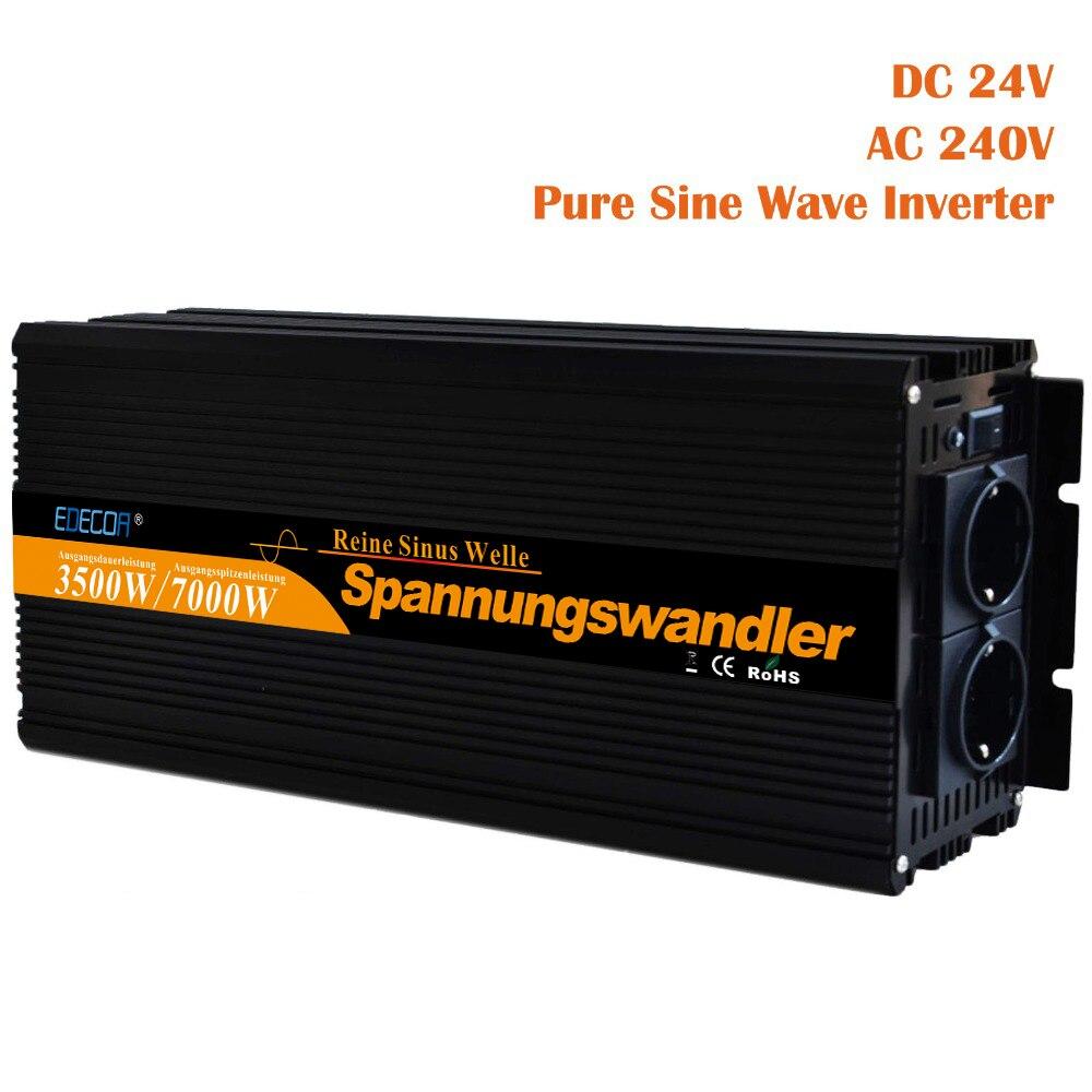 Onda senoidal pura inversor 3500 w DC 24 v AC 220 v 230 v 7000 w de pico de energia solar inversor