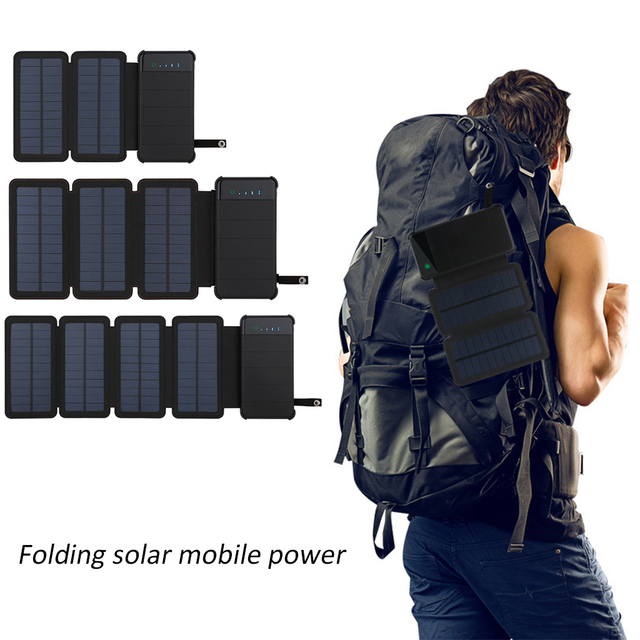 Solar Panel Charger Mobile Power 10000mAh Mobile Phone Battery Dual USB Port Outdoor Portable Folding Waterproof Power Supply 5