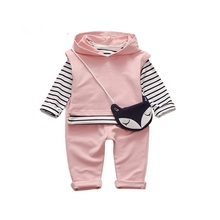 Sardiff 2017 Baby Boy Girl Clothes 3pcs Children Cartoon Clothing Set With Bag Hoody Coat+Pants Toddler Tracksuits Boys Girls