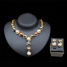 parure bijoux mariage jewelry  gold color  austrian crystal simulated pearl jewerly sets necklace stud earring free shipping