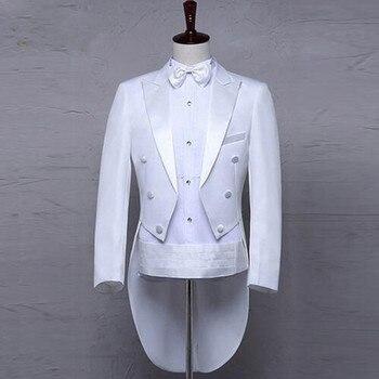 Classic Design Men Tailcoat Wedding Suit Groom Tuxedo Custom made Wedding Tailcoat Groomsmen Suits (Jacket+Pants+Belt+Tie)