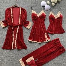 Sexy Women Sleepwear Robe with Pants Velvet Pajamas Lace Sle