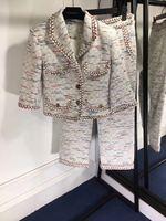 Новинка 2018 осень высокого класса изготовление под заказ твид короткое пальто широкие брюки Костюм 2 вещей.