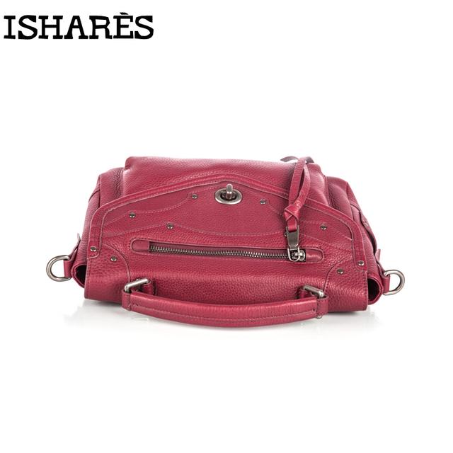 ISHARES 5 Color Retro Casual Cover Women Handbags Genuine Cowhide Cross Body Messenger Shoulder Zipper Bags Bolsos Mujer IS8056