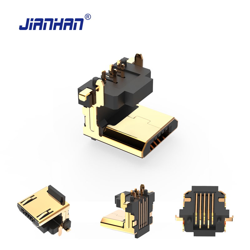 1-100 packs 90 Degree Micro USB Connector 5 Pin Flat Micro USB Connectors Adapter for PCB USB 2.0 Charging Cable Android Phone