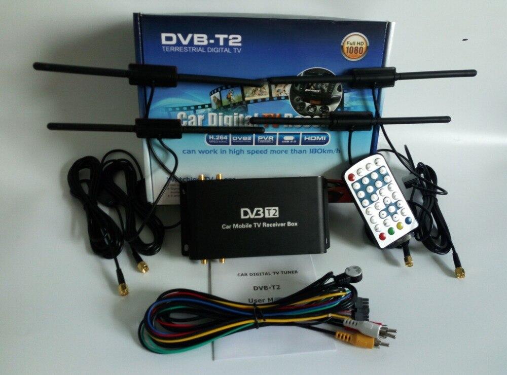 Voiture DVB-T2 numérique TV Box 4 Support d'antenne 180-200 km/h vitesse conduite mobilité puce numérique voiture 4 TV Tuner HD 1080 P TV récepteur