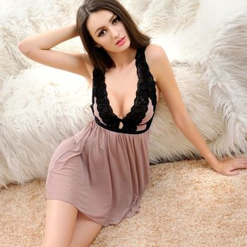 Lace Deep V-neck Nightdress Sexy Lingerie Nightgowns