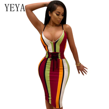 YEYA Women Summer Striped Dress Sleeveless Lace Up Bandage Dresses V-Neck Spaghetti Strap Midi Bodycon Dress Party Club Vestidos