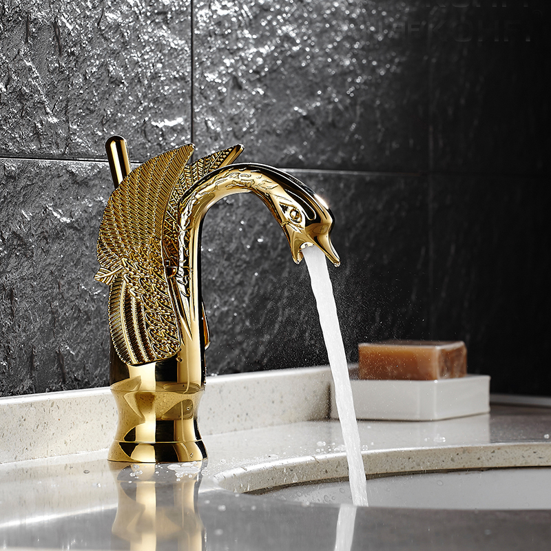 Swan Design Single Hole Bathroom Basin Faucet One Lever Vanity Sink Mixer Tap Gold Polished single handle golden swan faucet bathroom basin faucet vanity sink mixer tap