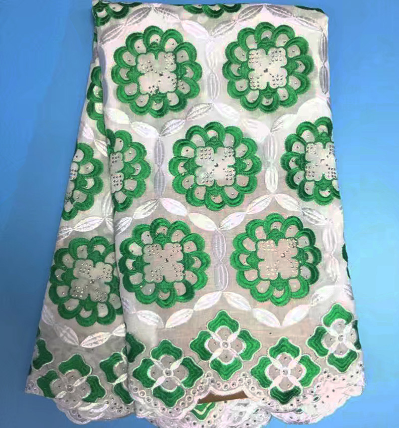 Free shipping 5yards pc Swiss lace fabric with stones and embroidery white green African cotton lace
