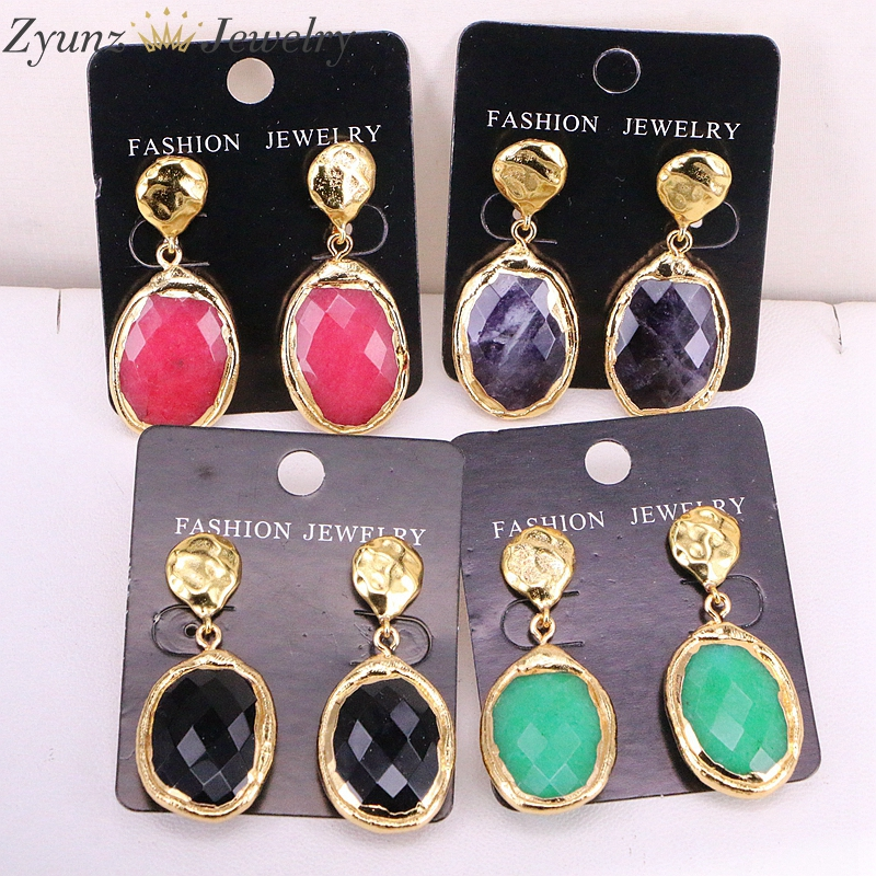 5Pairs ZYZ326 0432 Gold electroplatd Natural stone earrings FACETED stone earrings wholesale jewelry for women