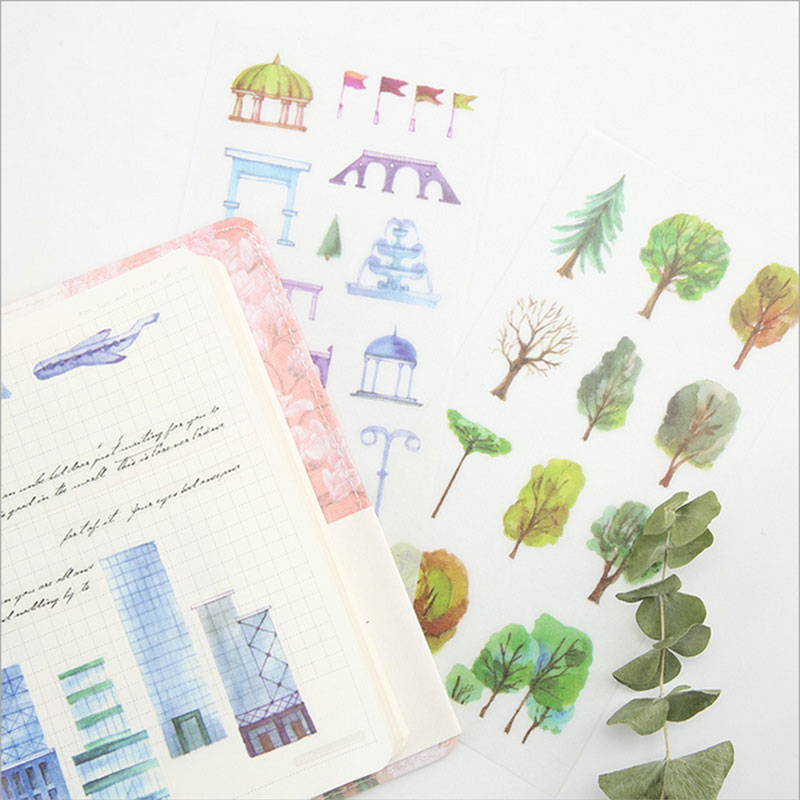 6pcs/lot City good time children Paper diy Decorative Sticker Diary Album Label Scrapbooking Stationery