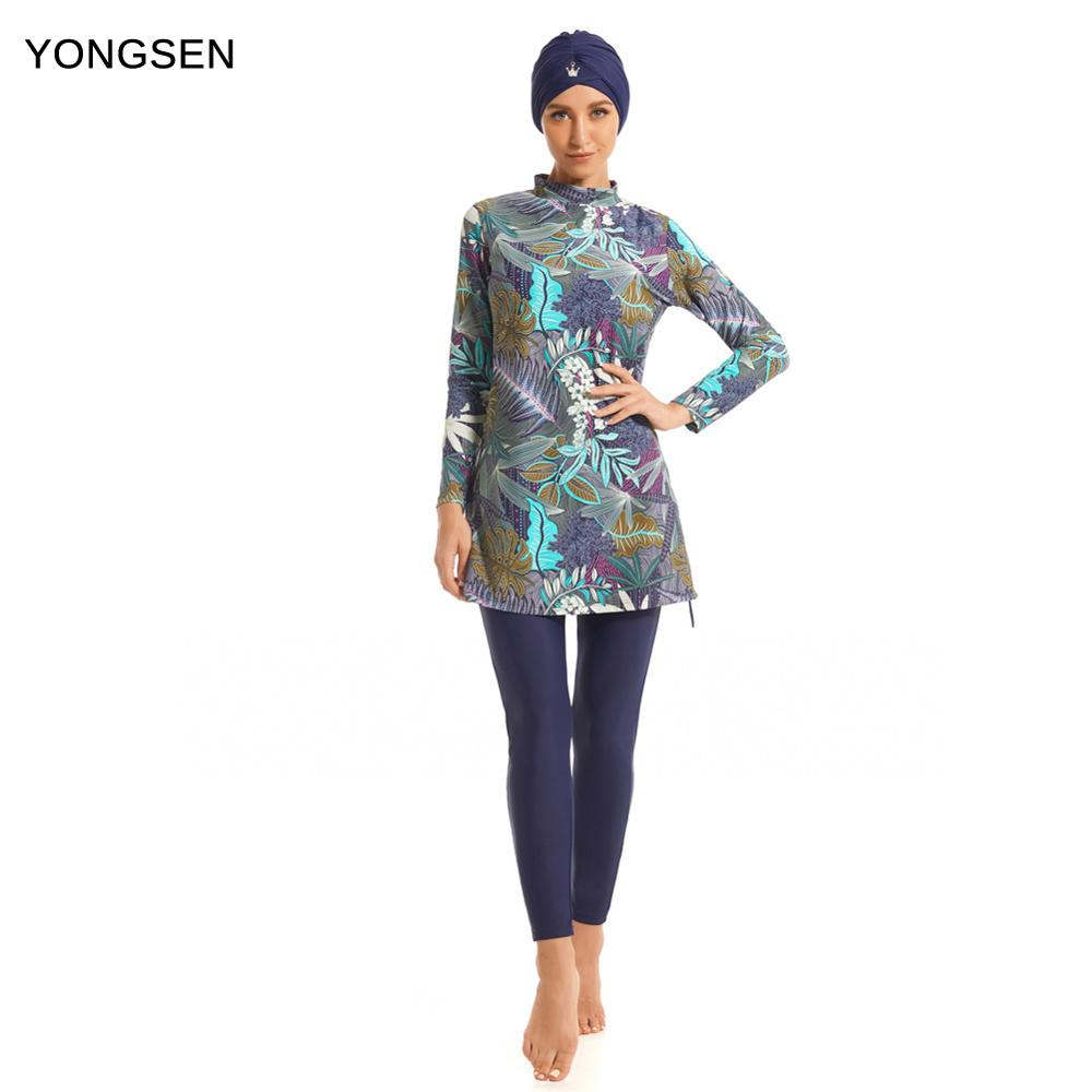 YONGSEN 2019 Muslim Swimwear Women Modest Patchwork Full Cover Long Sleeve Swimsuit Islamic Hijab Islam Burkinis Wear Bathing