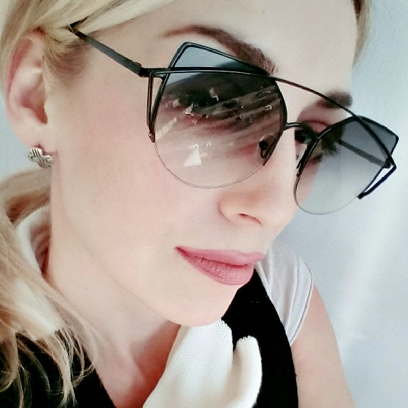 Süße CITRUS Katzenaugen-sonnenbrille Frauen Luxury Brand Designer Metall Original Sonnenbrille Weiblich vintage Oculos De Sol Feminino