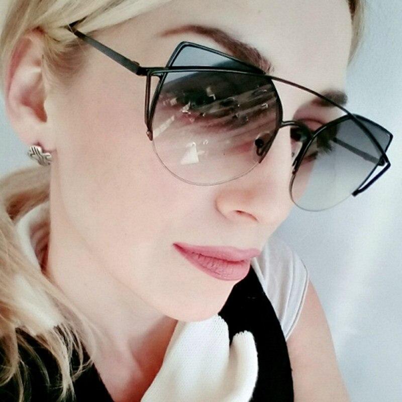 Sweet CITRUS Cat eye Sunglasses Women Luxury Brand Designer Metal Original Sun Glasses For Female vintage Oculos De Sol Feminino