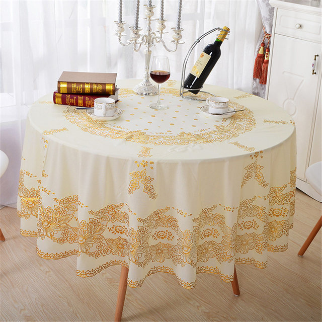 Pastoral PVC Hot Stamping Floral Tablecloth Waterproof Oilproof Bronzing  Anti Hot Table Covers Fabric Decorative Table