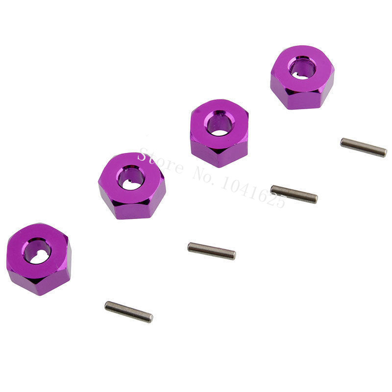 4pcs Aluminum Wheel Hex Nut 12MM With Pins Drive Hubs 4P HSP 102042 (02134) 1/10 Upgrade Parts For 4WD RC Car Himoto 33009 hsp rc car 1 10 electric power remote control car 94601pro 4wd off road short course truck rtr similar redcat himoto racing