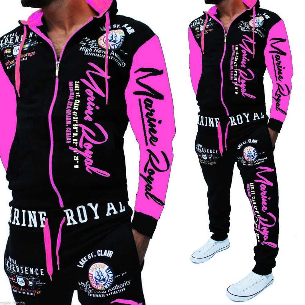 Erkekler Eşofman Kapşonlu Ceket Eşofman Erkek spor takımları marka Yeni Spor Giyim Erkekler Jogger Seti Baskılı Eşofman Erkek Giyim 2019
