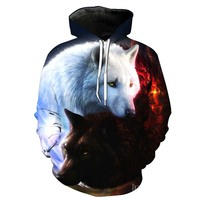 Hoodies Men 3d Wolf Printed Hoodies Brand Sweatshirts Boy Jackets Quality Pullover Fashion Tracksuits Animal Streetwear Out Coat