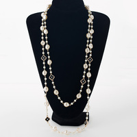 Simulated Pearl Women Long Necklace Rhinestone Zinc Alloy Gold Plated Ladies Chain Necklaces Jewelry Collier Femme