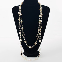 Simulated pearl long necklaces for women gold plated chain rhinestone four leaf clovers strand beads female sweater necklace