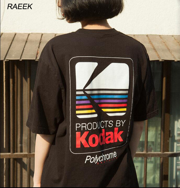 RAEEK 2018 Summer Men Women Tee INS Korea Retro Loose Wild Kodak Letter Short-sleeved KODAK Cotton   T     shirt