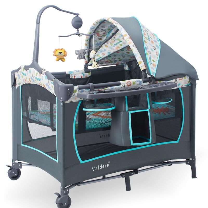 Valdera Portable Folding Baby Crib Multifunctional Bed Bb Bed, Newborn Game Nets.