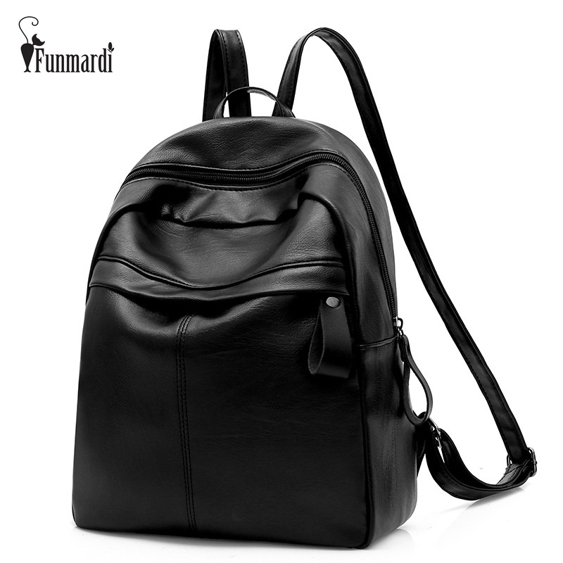 FUNMARDI High Quality PU Leather Women Backpack Fashion School Bags For Teenager Girls Large Capacity Casual Travel Bag WLHB1711 sendefn genuine leather backpack large capacity rivet black shoulder bag women casual backpack teenage girls school travel bags