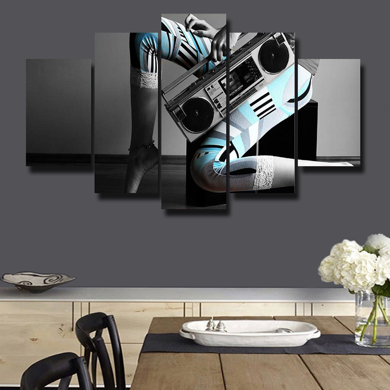 5P HD Poster Picture Art Wall Modern Theme Music Painting Canvas Printings Living Room